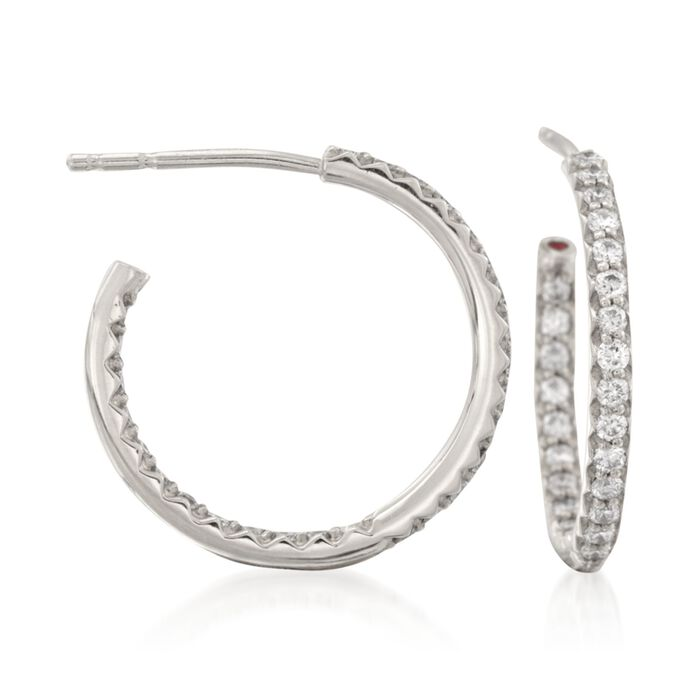 Roberto Coin .52 Carat Total Weight Diamond In-And-Out Hoops in 18-Karat White Gold, , default