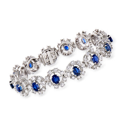 C. 1980 Vintage 9.00 ct. t.w. Sapphire and 7.50 ct. t.w. Diamond Cluster Bracelet in Platinum
