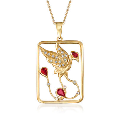 C. 1990 Vintage .50 ct. t.w. Ruby and .15 ct. t.w. Diamond Bird Open-Space Pendant Necklace in 18kt Yellow Gold, , default