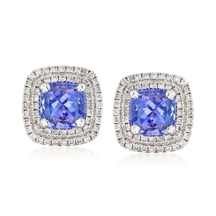 2.40 Carat Total Weight Tanzanite and .40 Carat Total Weight Diamond Studs in 14-Karat White Gold, , default