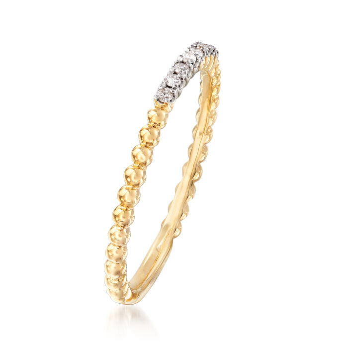 Gabriel Designs Diamond-Accented Beaded Ring in 14kt Yellow Gold