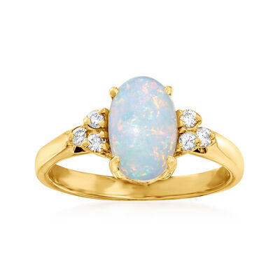 C. 1980 Vintage Opal and .15 ct. t.w. Diamond Ring in 14kt Yellow Gold
