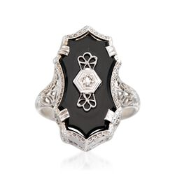 C. 1950 Vintage Black Onyx Engraved Ring With Diamond Accents in 14kt White Gold, , default