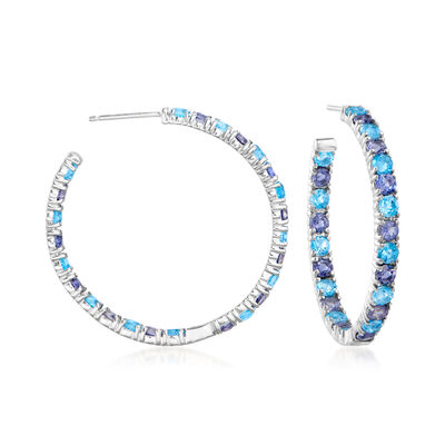 C. 1980 Vintage 3.60 ct. t.w. Amethyst and 3.15 ct. t.w. Blue Topaz Hoop Earrings in 14kt White Gold