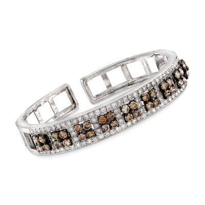C. 1990 Vintage 5.15 ct. t.w. Brown and White Diamond Cuff Bracelet in 18kt White Gold, , default