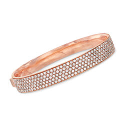 C. 1950 Vintage 5.75 ct. t.w. Diamond Five-Row Bangle Bracelet in 18kt Rose Gold, , default