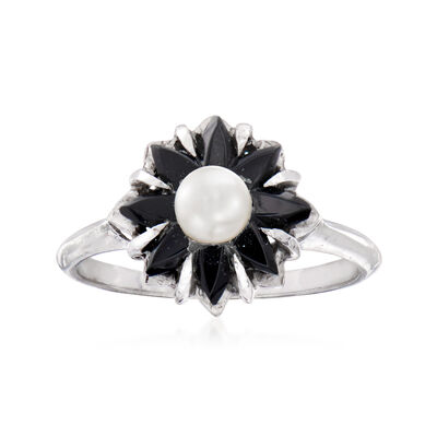 C. 1940 Vintage 4mm Cultured Pearl Ring with Black Onyx in 10kt White Gold