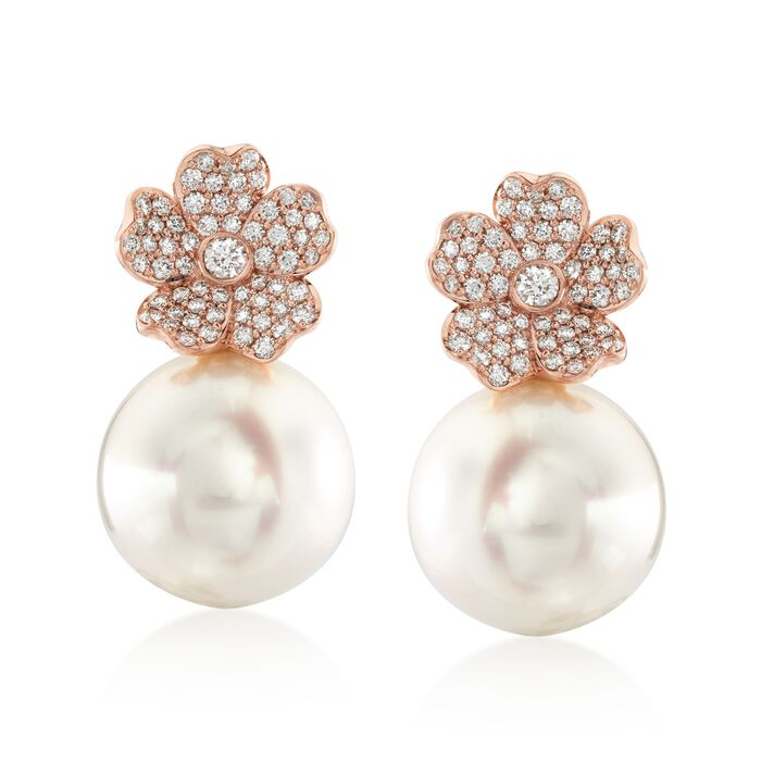 Mikimoto Cherry Blossom 11mm A+ South Sea Pearl and .45 Carat Total Weight Diamond Drops in 18-Karat Rose Gold, , default