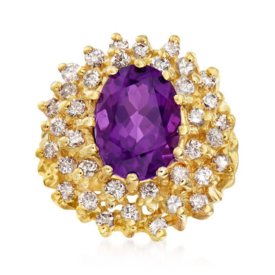 C. 1970 Vintage 2.85 ct. t.w. Amethyst and .90 ct. t.w. Diamond Cocktail Ring in 14kt Yellow Gold