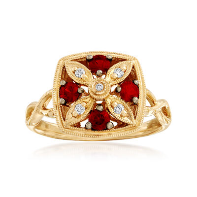 C. 2000 Vintage .60 ct. t.w. Ruby Flower Ring with Diamond Accents in 14kt Yellow Gold, , default