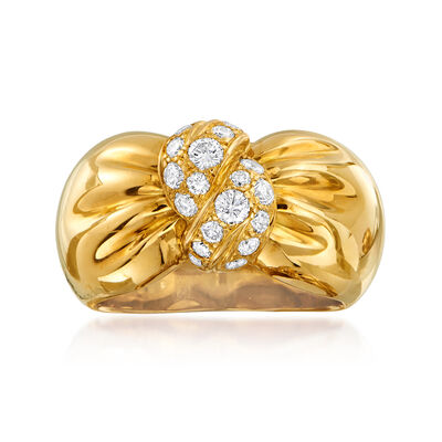 C. 1980 Vintage Vca .60 ct. t.w. Diamond Bow Ring in 18kt Yellow Gold