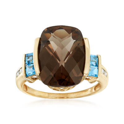 C. 1990 Vintage 5.65 ct. t.w. Smoky Quartz and .40 ct. t.w. Blue Topaz Ring in 14kt Yellow Gold, , default