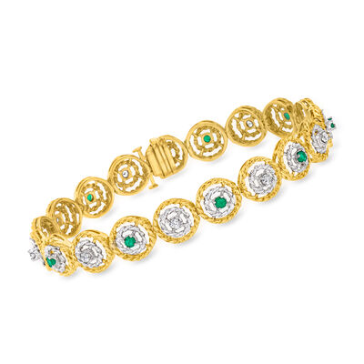 C. 1970 Vintage .95 ct. t.w. Emerald and .80 ct. t.w. Diamond Roped-Circle Link Bracelet in  14kt Two-Tone Gold
