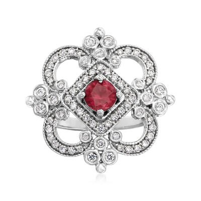 C. 1990 Vintage Tresorra .77 Carat Ruby and .80 ct. t.w. Diamond Ring in 18kt White Gold