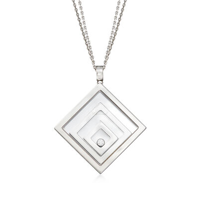 "C. 1990 Vintage Chopard ""Happy Floating Triple Square"" Pendant Necklace in 18kt White Gold"