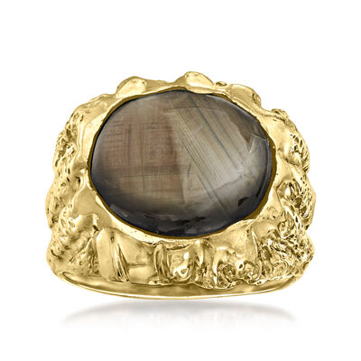 C. 1960 Vintage 12.90 Carat Black Sapphire Ring in 10kt Yellow Gold