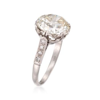 C. 1990 Vintage 4.51 ct. t.w. Diamond Ring in Platinum. Size 6.5, , default