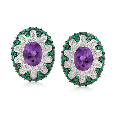 C. 1980 Vintage 5.00 ct. t.w. Amethyst, 2.90 ct. t.w. Emerald and .22 ct. t.w. Diamond Earrings in 18kt White Gold