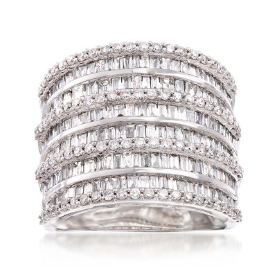 2.70 ct. t.w. Baguette and Round Diamond Multi-Row Ring in 14kt White Gold, , default