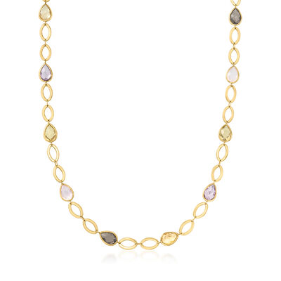 C. 1980 Vintage 38.40 ct. t.w. Multicolored Quartz and Amethyst Link Necklace in 18kt Yellow Gold