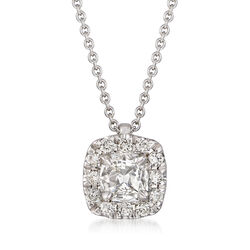 Henri Daussi .44 ct. t.w. Diamond Halo Necklace in 18kt White Gold, , default