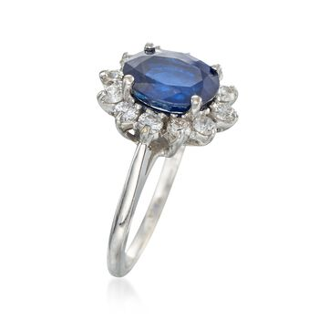C. 1990 Vintage 2.35 Carat Sapphire and .50 ct. t.w. Diamond Ring in 18kt White Gold. Size 5.75