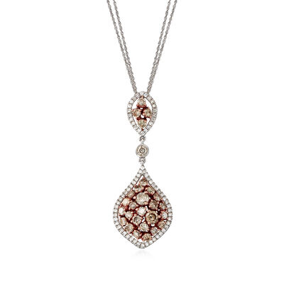 C. 1990 Vintage 2.05 ct. t.w. Brown and White Diamond Teardrop Necklace in 14kt Two-Tone Gold