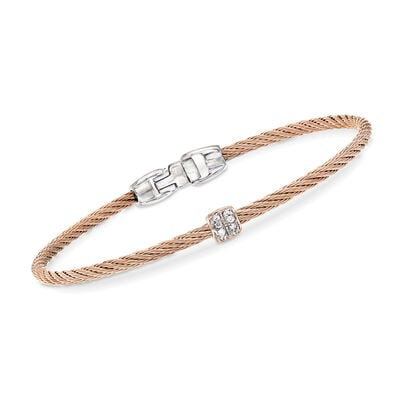 "ALOR ""Classique"" Blush Stainless Steel Cable Bracelet with Diamond Accents, , default"