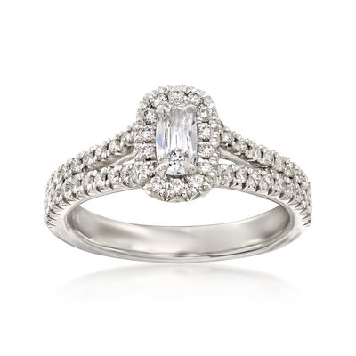 Henri Daussi .70 ct. t.w. Diamond Halo Engagement Ring in 18kt White Gold