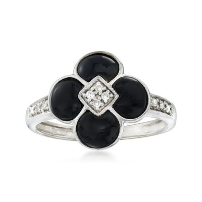 C. 1990 Vintage Black Onyx Flower Ring with Diamond Accents in 14kt White Gold, , default