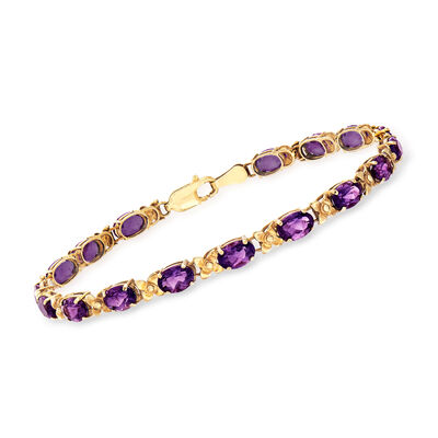 C. 1990 Vintage 8.00 ct. t.w. Amethyst Bracelet in 14kt Yellow Gold, , default