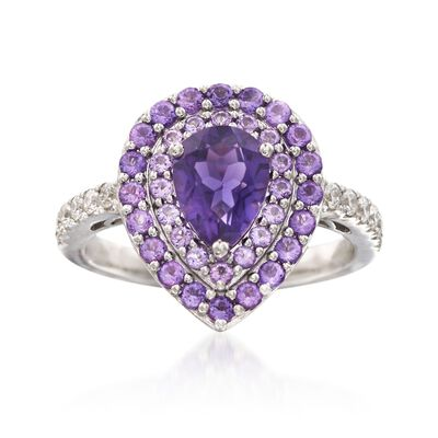 Gregg Ruth 1.60 ct. t.w. Amethyst and .26 ct. t.w. Diamond Ring in 18kt White Gold    , , default