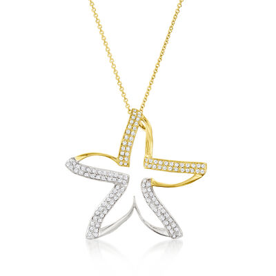 C. 1990 Vintage .60 ct. t.w. Diamond Star Pendant Necklace in 14kt Two-Tone Gold
