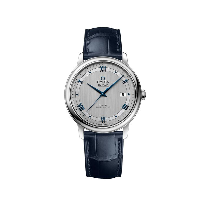 Omega De Ville Prestige 39.5mm Men's Automatic Stainless Steel Watch with Blue Leather - Silver Dial, , default