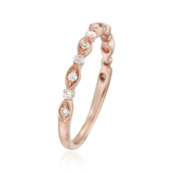 Henri Daussi .20 ct. t.w. Diamond Wedding Ring in 18kt Rose Gold, , default