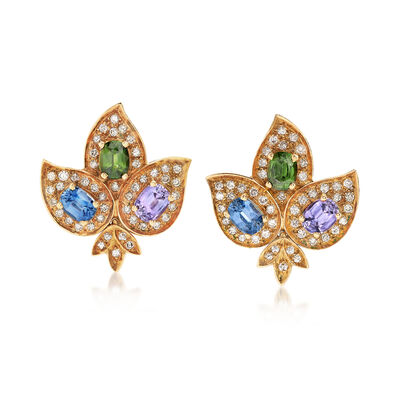 C. 1960 Vintage 14.40 Multicolored Sapphire Flower Earrings in 18kt Yellow Gold, , default