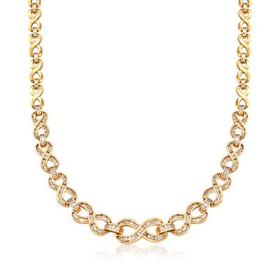 C. 1990 Vintage 5.00 ct. t.w. Diamond Infinity-Link Necklace in 14kt Yellow Gold, , default