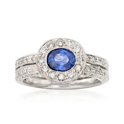 C. 2000 Vintage .90 Carat Sapphire and 1.00 ct. t.w. Diamonds in 18kt White Gold