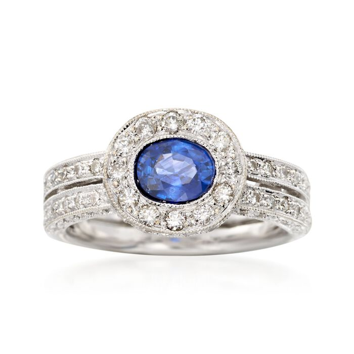 C. 2000 Vintage .90 Carat Sapphire and 1.00 ct. t.w. Diamonds in 18kt White Gold. Size 6
