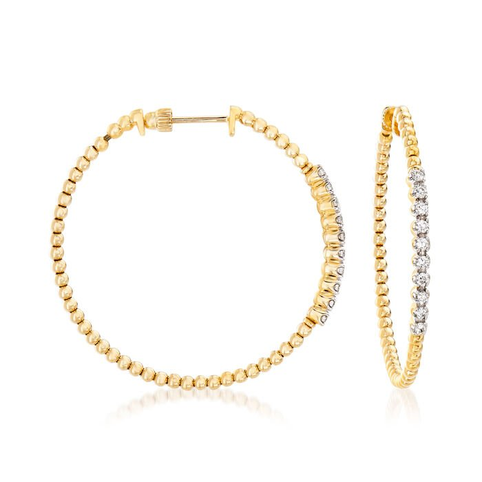 Gabriel Designs .43 ct. t.w. Diamond Beaded Hoop Earrings in 14kt Yellow Gold. 1 1/2""