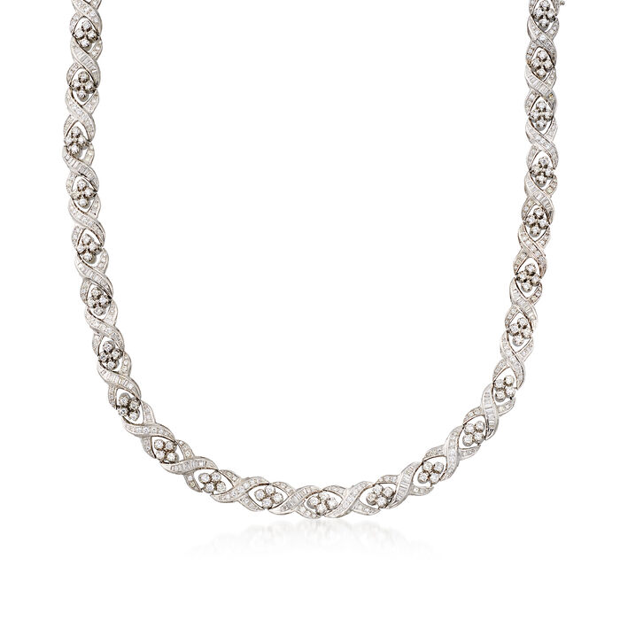 C. 1980 Vintage 11.20 ct. t.w. Diamond Crisscross Necklace in Platinum