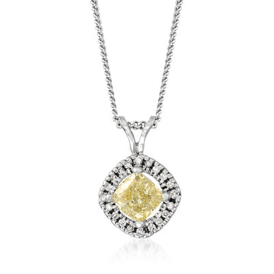 C. 1990 Vintage .75 Carat Yellow Diamond Pendant Necklace with .10 ct. t.w. White Diamonds in 14kt White Gold
