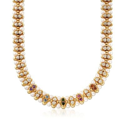 C. 1980 Vintage 7.5mm Cultured Pearl and 4.50 ct. t.w. Multi-Stone Necklace in 14kt Yellow Gold, , default