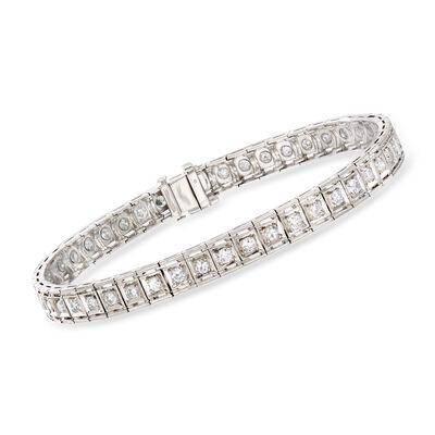 C. 1950 Vintage 2.10 ct. t.w. Diamond Bracelet in Platinum