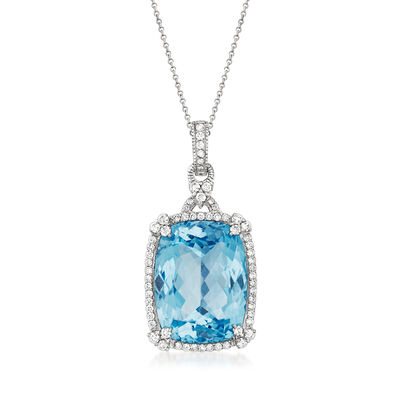 C. 2000 Vintage Judith Ripka 33.50 Carat Sky Blue Topaz and 1.20 ct. t.w. Diamond Pendant Necklace in 18kt White Gold