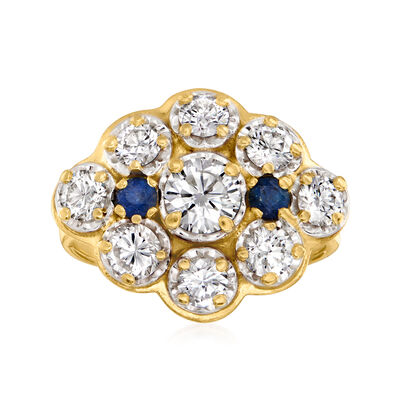 C. 1970 Vintage 2.35 ct. t.w. Diamond and .40 ct. t.w. Sapphire Cluster Ring in 14kt Yellow Gold