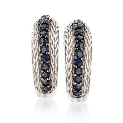 "Phillip Gavriel ""Woven"" .70 ct. t.w. Black Sapphire Hoop Earrings in Sterling Silver"