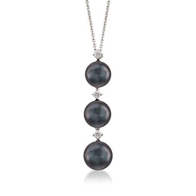Mikimoto 8-9mm Black South Sea Pearl Necklace With .13 ct .t.w. Diamonds in 18kt White Gold, , default