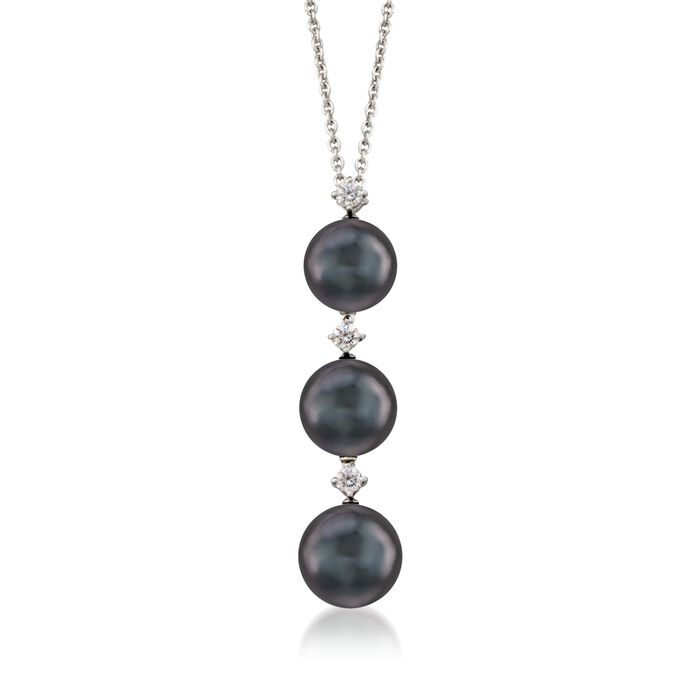 "Mikimoto Black Cultured South Sea Pearl and Diamond Necklace in 18-Karat White Gold. 16"", , default"