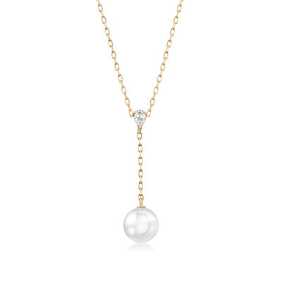Mikimoto 7.5mm A+ Akoya Pearl Y-Necklace with Diamond Accent in 18kt Yellow Gold, , default